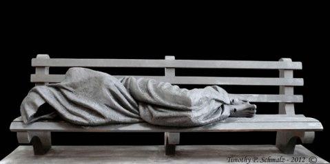 Jesus, o pobre sem-teto - Escultura de Timothy Schmalz